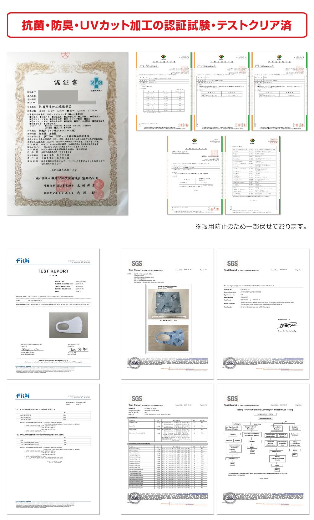 抗菌・防臭・UVカット加工の認証試験・テストクリア済みです。