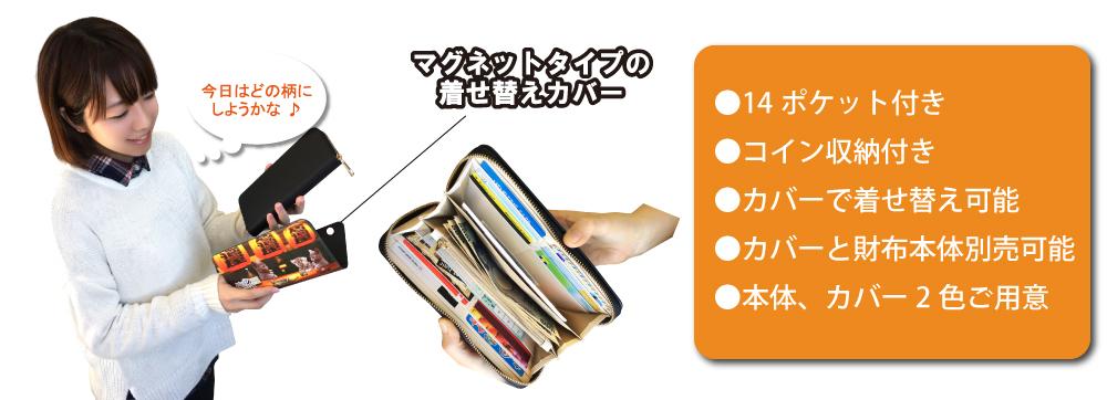 着せ替え長財布 マグネットタイプの着せ替えカバー