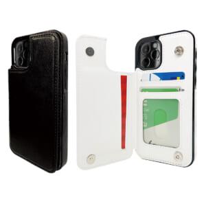 背面PUレザーiPhoneケース 安全便利なカードポケット付き