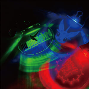 赤、緑、青の3色点灯 ライト付きアクリルキーホルダー